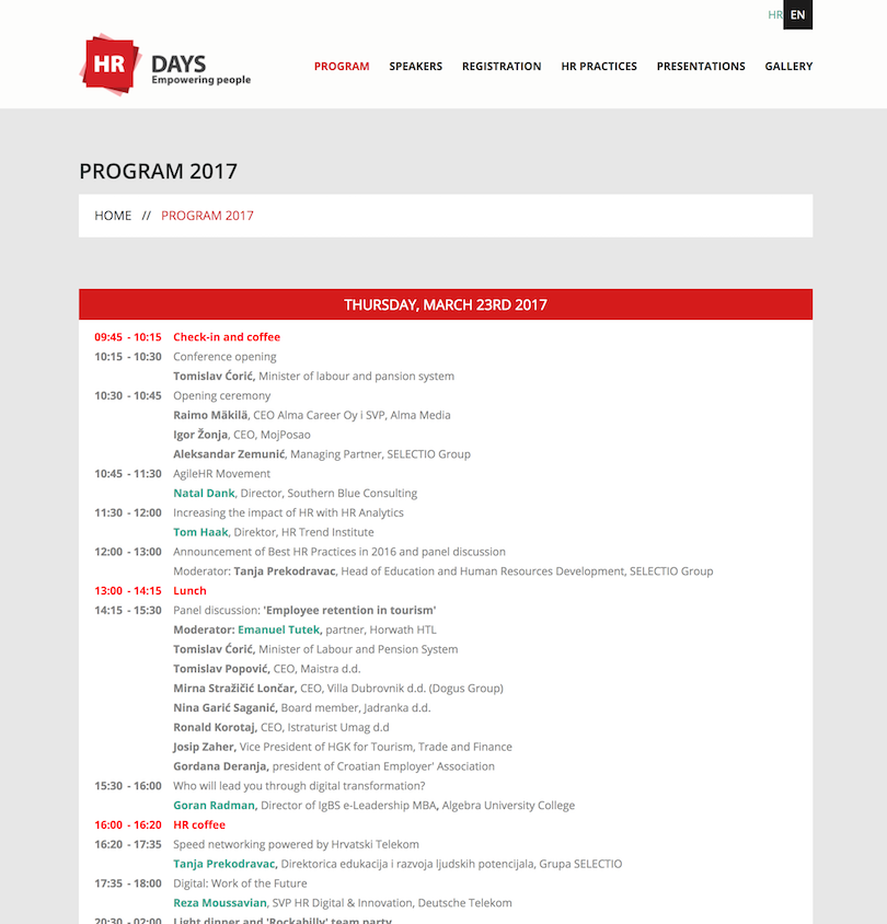HR Days 2017 program